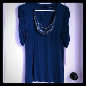 Navy 3/4 Sleeve W/attached Beaded Necklace